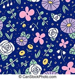 hermoso, flor, campo, patrón