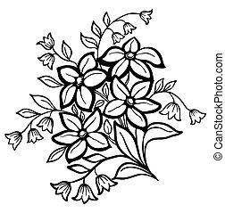 hermoso, flor, contorno, arreglo, fondo negro, blanco