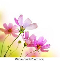 hermoso, floral, border., flor, diseño