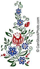 hermoso, floral, element., flores, y, hojas, elemento del diseño