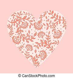 hermoso, floral, heart., saludo