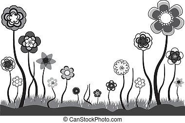 hermoso, floral, ilustración, de, estacional, flores, en, verano, o, primavera, time., éstos, flores, ser, en, tonos, de, gris, negro y, white., el, espacio blanco, lata, ser, utilizado, para, cualesquiera, text.