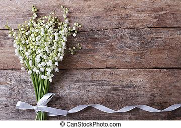 hermoso, floral, lirios, valle, marco
