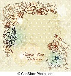hermoso, floral, plano de fondo, mano, dibujado, flores retro, leafs, y, ornamentos, -, en, vector