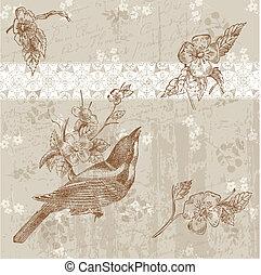 hermoso, floral, tarjeta, con, pájaro, en, vector