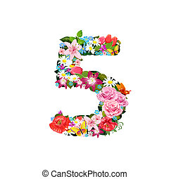 hermoso, flores, 5, romántico, número