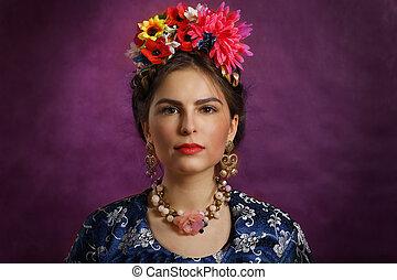hermoso, flores, cuentas, mujer, joven