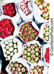 hermoso, flores, en, el, mercado de flor