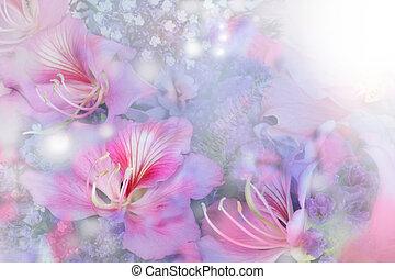 hermoso, flores, hecho, con, foco suave