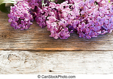 hermoso, flores, lila, de madera, space., plano de fondo, copia
