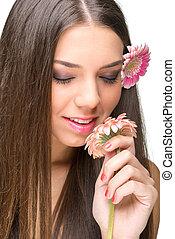 hermoso, flores, ojos, modelo, closed.