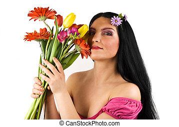 hermoso, flores, primavera, mujer