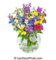 hermoso, flores salvajes, ramo, en, florero, aislado, blanco