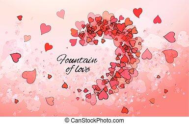 hermoso, fondo rosa, con, corazones