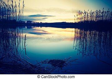 hermoso, foto, encima, lago, ocaso, calma, vendimia
