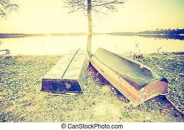 hermoso, foto, encima, lago, ocaso, calma, vendimia, barcos...