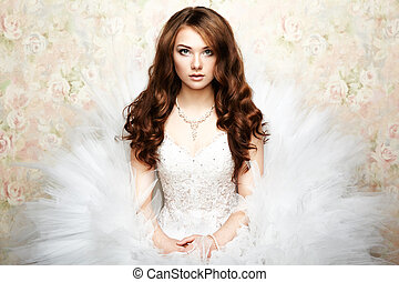 hermoso, foto, novia, retrato, boda