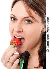 hermoso, fresa, mujer
