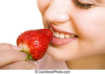 hermoso, fresa, niña, comida