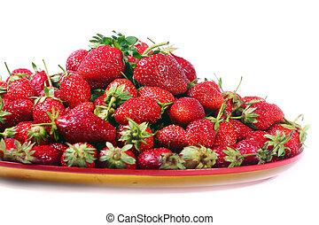 hermoso, fresas, maduro
