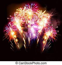 hermoso, fuegos artificiales demuestran