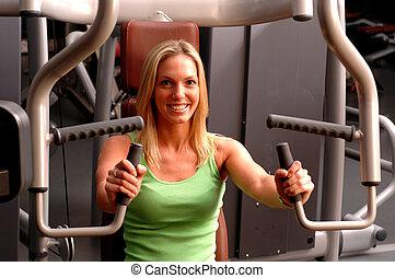 hermoso, gimnasio, mujer, condición física
