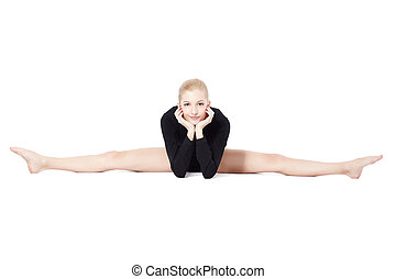 hermoso, gimnasta, rubio