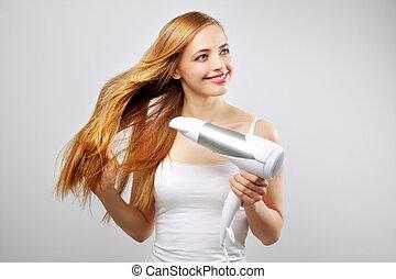 hermoso, golpe, ella, secado, secador de pelo, niña sonriente