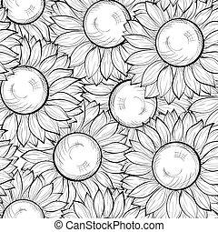 hermoso, golpes, líneas, seamless, hand-drawn, fondo negro,...