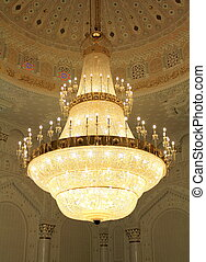 hermoso, grande, araña de luces, mezquita