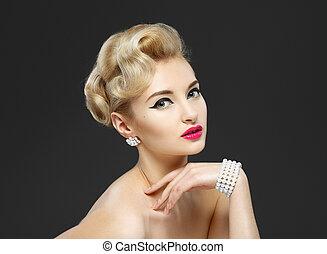 hermoso, gris, estilo, hairstyle., jewels., maquillaje,...