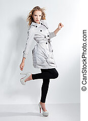 hermoso, gris, lleno, shoes, moderno, chamarra, -, joven,...