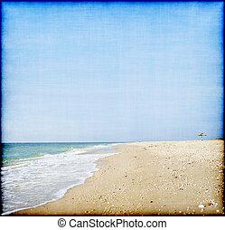 hermoso, grubge, estilo, paraguas, panorama, sol, playa,...