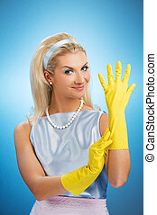 hermoso, guantes de goma, ama de casa, feliz