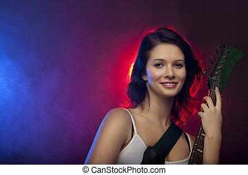 hermoso, guitarra, niña