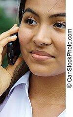 hermoso, hablar, hembra, teléfono