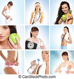 hermoso, haciendo dieta, sobre, collage, deporte, salud
