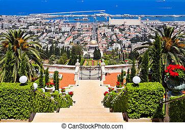 hermoso, haifa, vista, de, mar mediterráneo, y, bahai, jardines