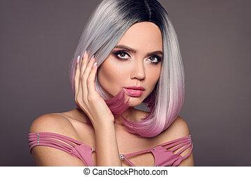 hermoso, haircut., makeup., pelo, rubio, moderno, retrato, niña, colorido, aislado, fondo., puprle, hairstyle., belleza, woman., cortes de pelo, mover, cortocircuito, ombre, gris, modelo, brillante, salon.