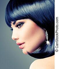 hermoso, haircut., pelo morena, cortocircuito, woman., mover