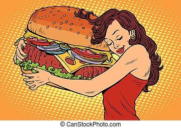 hermoso, hamburguesa, mujer, joven, abrazar