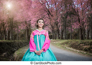 hermoso, hanbok:, tradicional, niña asiática, vestido,...