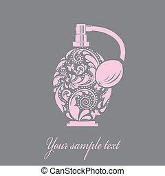 hermoso, hecho, hoja, pattern., botella del perfume