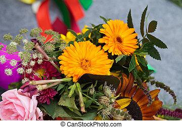 hermoso, hierbas, flores, ramos