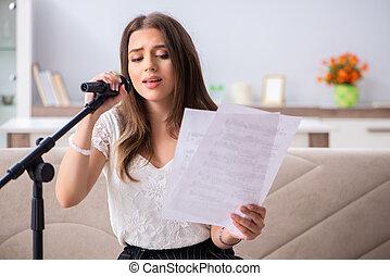 hermoso, hogar, músico, canto, hembra