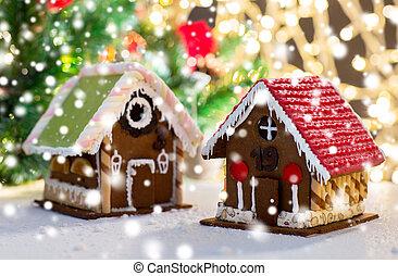 hermoso, hogar, pan de jengibre, primer plano, casa