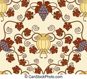 hermoso, hoja vid, y, urna, seamless, azulejo, diseño