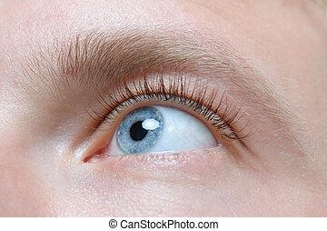 hermoso, hombre azul, ojo, cicatrizarse, pestaña, extensión
