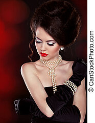 hermoso, hombros, morena, bared, perla, mujer, collar, ...