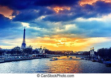 hermoso, iii, encima, jábega, parís, francia, ocaso, río,...